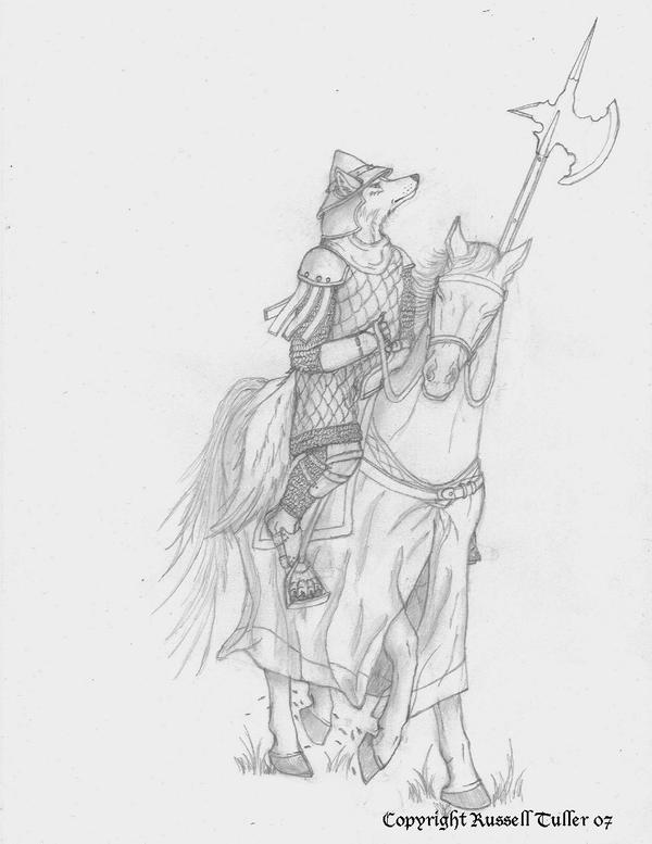 Anthro Wolf Soldier Mounted Wolf Anthro Soldier by