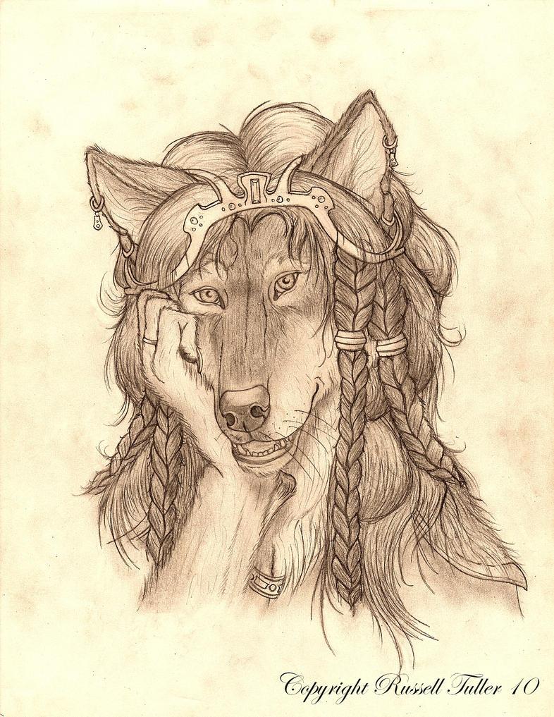 White Female Anthro Wolf Female Wolf Anthro Portrait 5