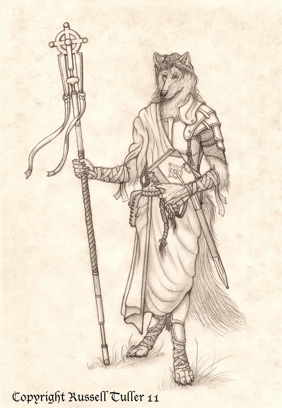 Anthro Wolf Cleric by RussellTuller