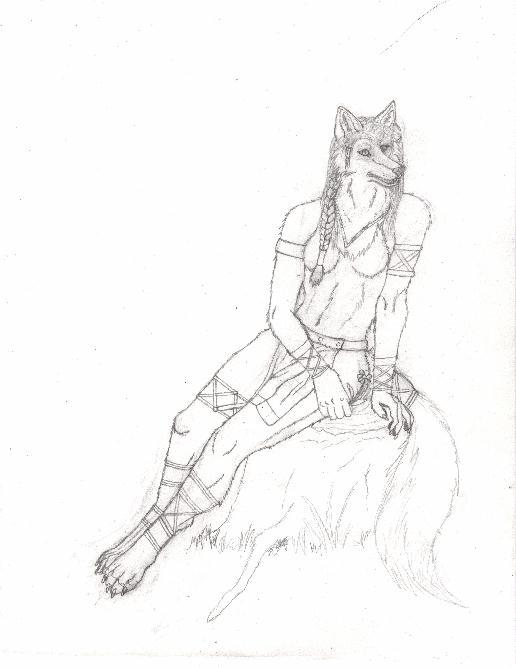 Anthro Wolf Female Female wolf anthro sketch by