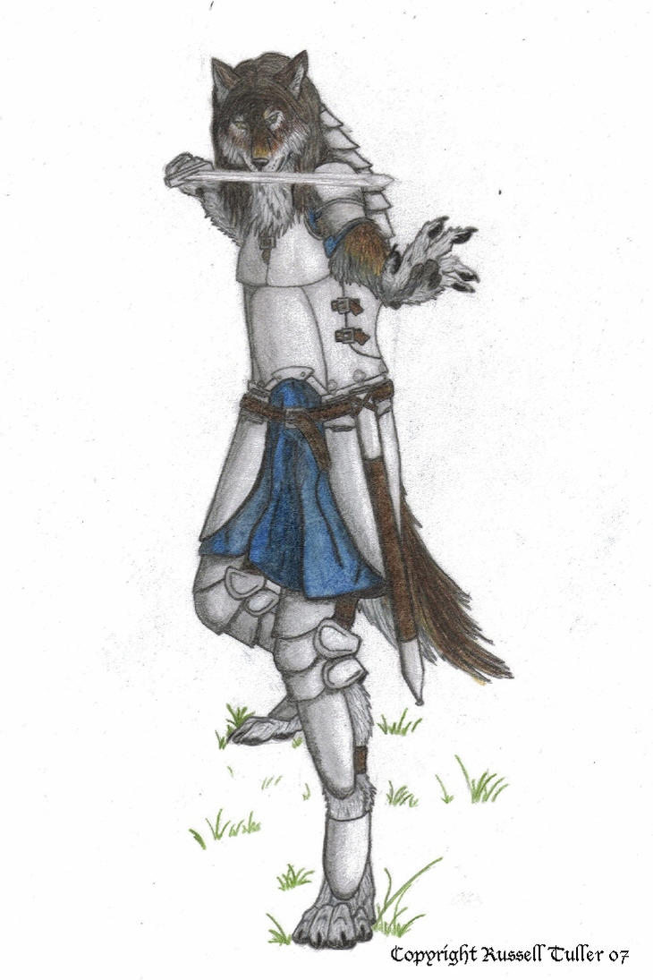 Anthro Wolf Male Wolf Anthro Battle Stance by