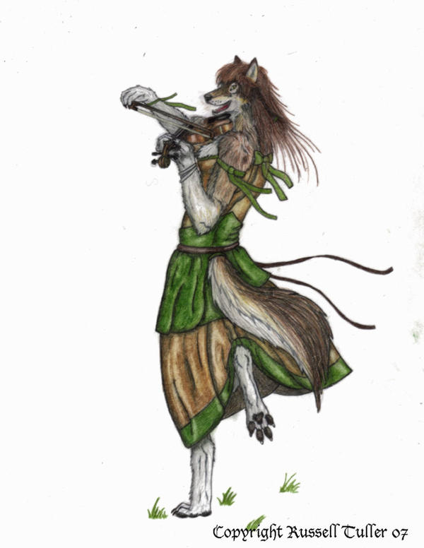 Anthro Wolf Female Celtic wolf anthro with fiddle