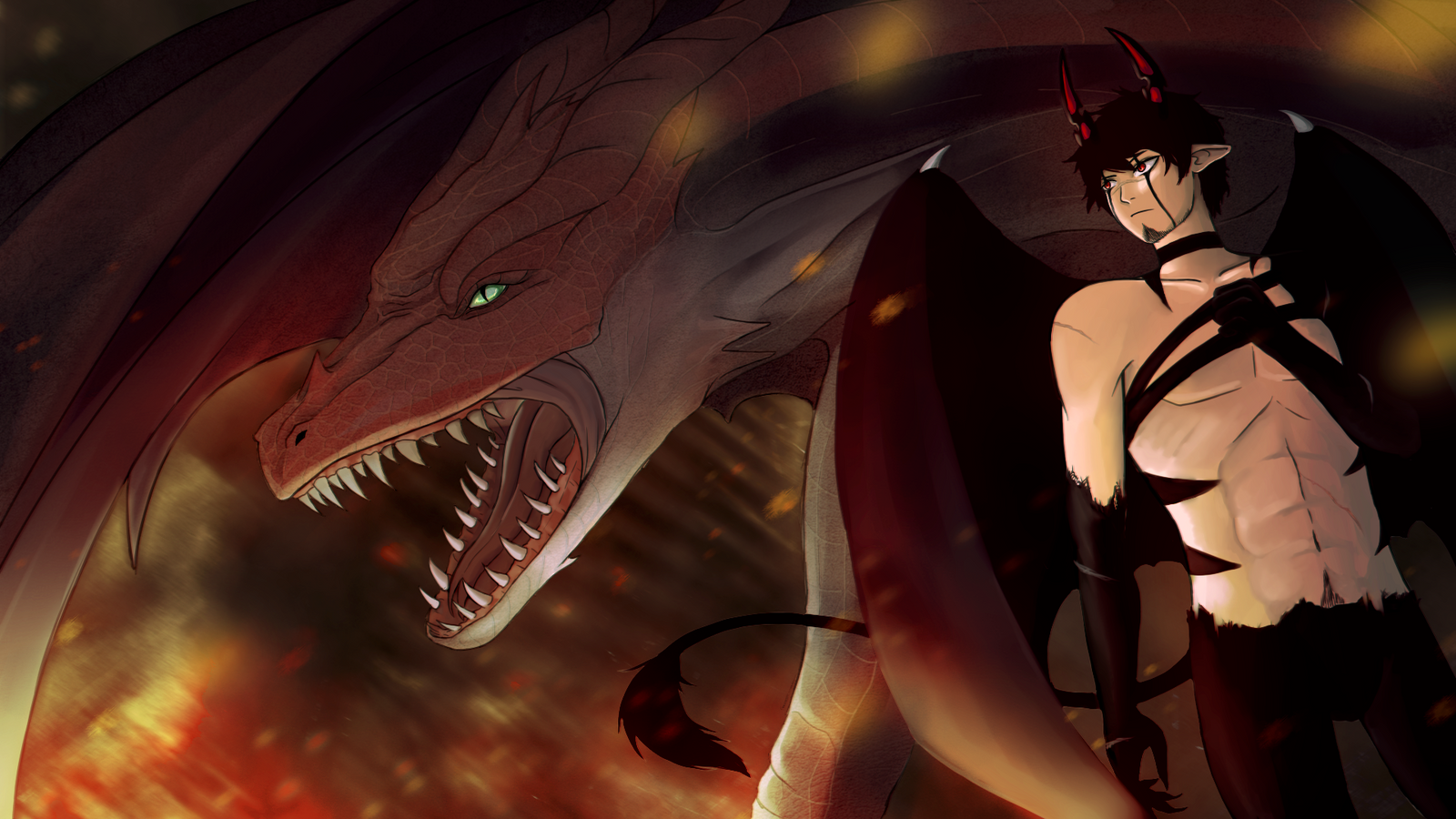 Dragon and Demon by Cessalina on DeviantArt