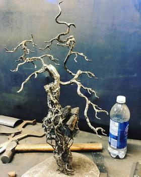 Metal sculpture bonsais tree