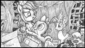 Spike, Applejack and Twi