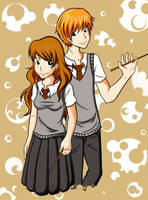 Hermione and Ron by ConcealedShadows