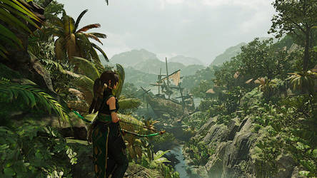 Lara Croft shipwrecking in the jungle