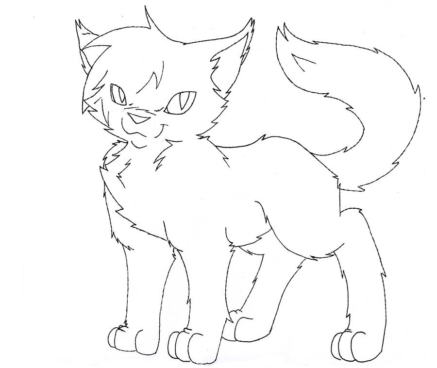 Warrior Cat LineArt by ThrushFeather