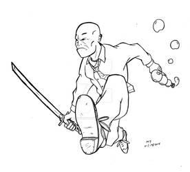 Bubble Gun Man with Samurai Sword