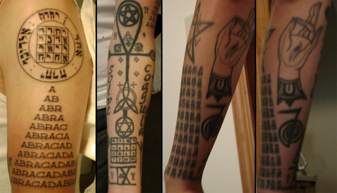 Tattoos- left arm - chest tattoo