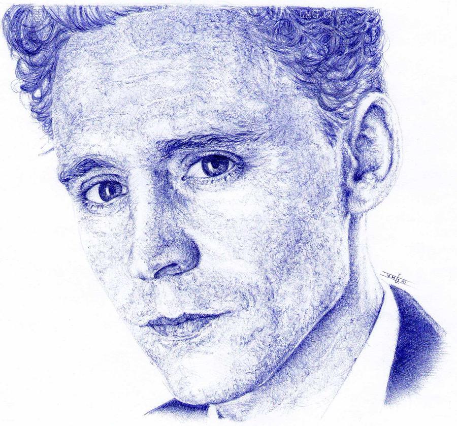 Tom Hiddleston. Blue biro. by artisticartery