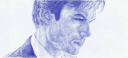 Ian Somerhalder. Blue biro.