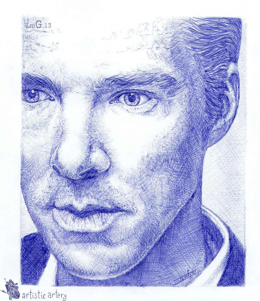 Benedict Cumberbatch. Blue biro by artisticartery