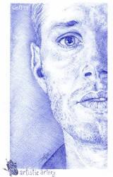 Jensen Ackles. Blue biro.