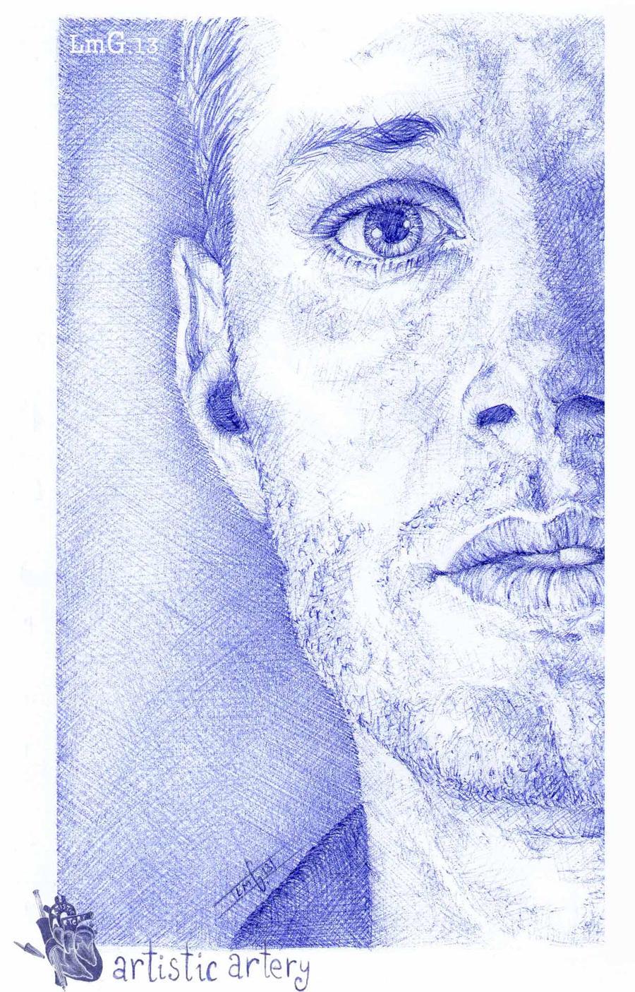 Jensen Ackles. Blue biro. by artisticartery