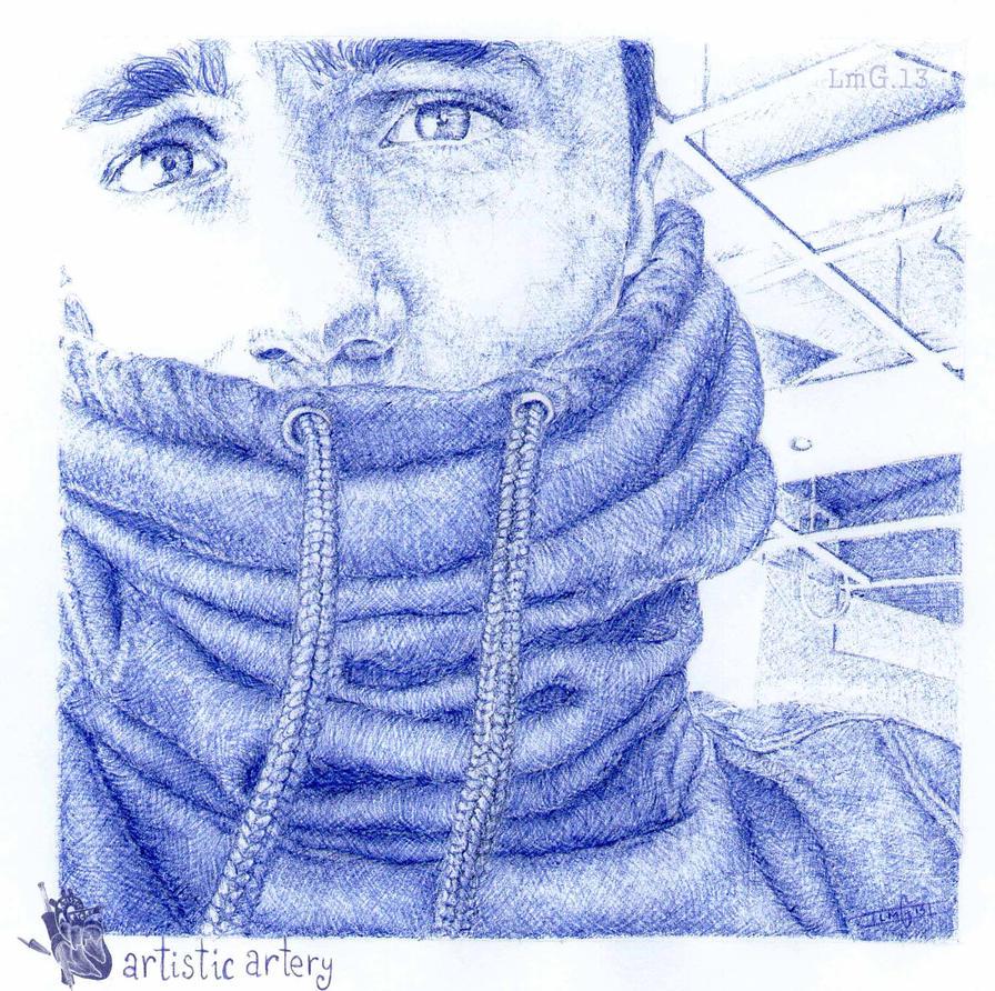 Jake Bass. Blue biro by artisticartery