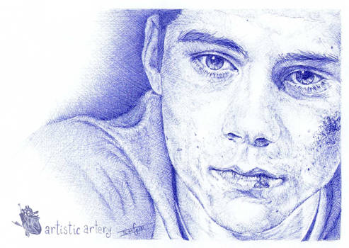 Dylan O'brien. Blue biro.