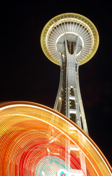 .space needle at night. by elementalunacy