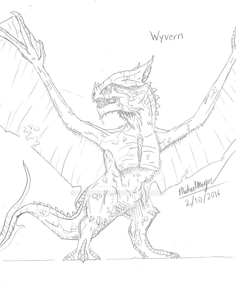 Wyvern Sketch by BaryMiner