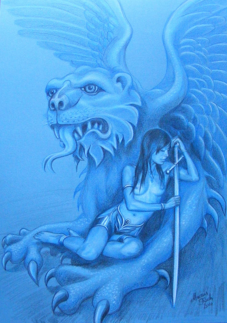 Lauren and Stone Winged Lion by Krystalvoyager