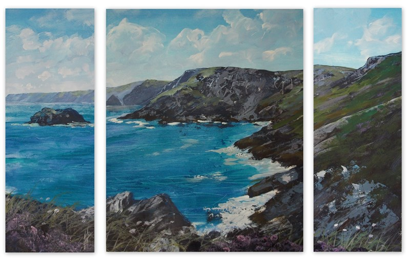 Barras Nose Tintagel Cornwall Triptych by Krystalvoyager