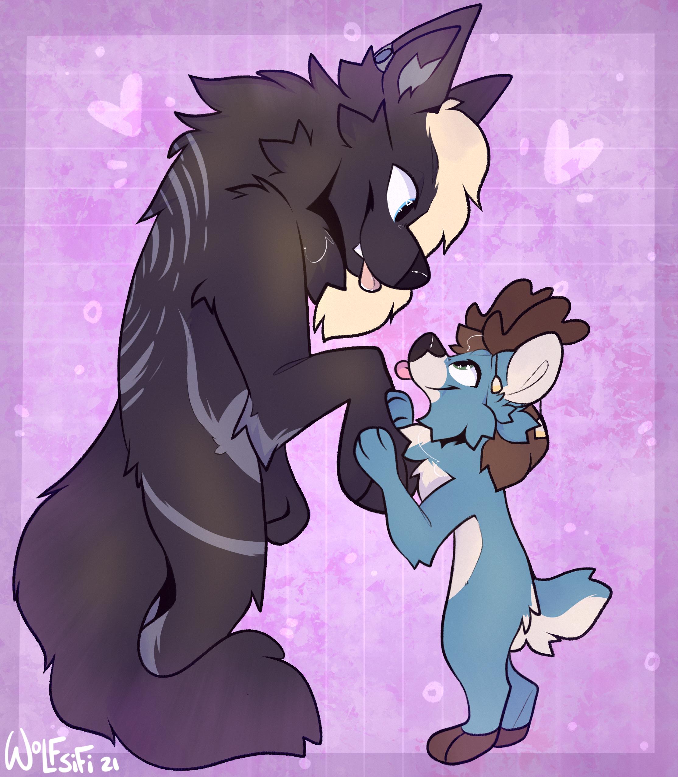 The Big Black Wolf  the Smol Blue Deer ~ wolfsifi