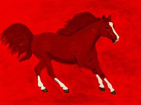 Dark Galloping Chestnut Horse