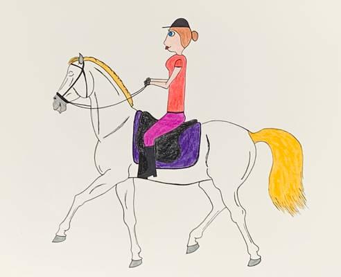 Cartoon Equestrian And Horse