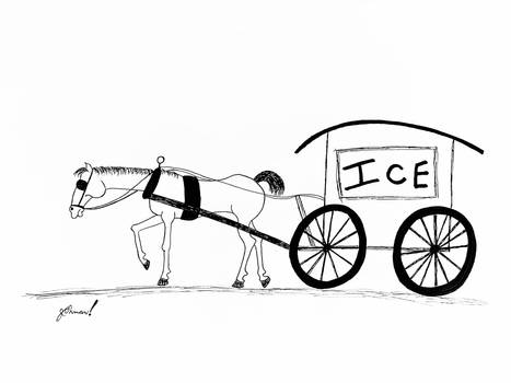 Cartoon Ice Wagon Horse