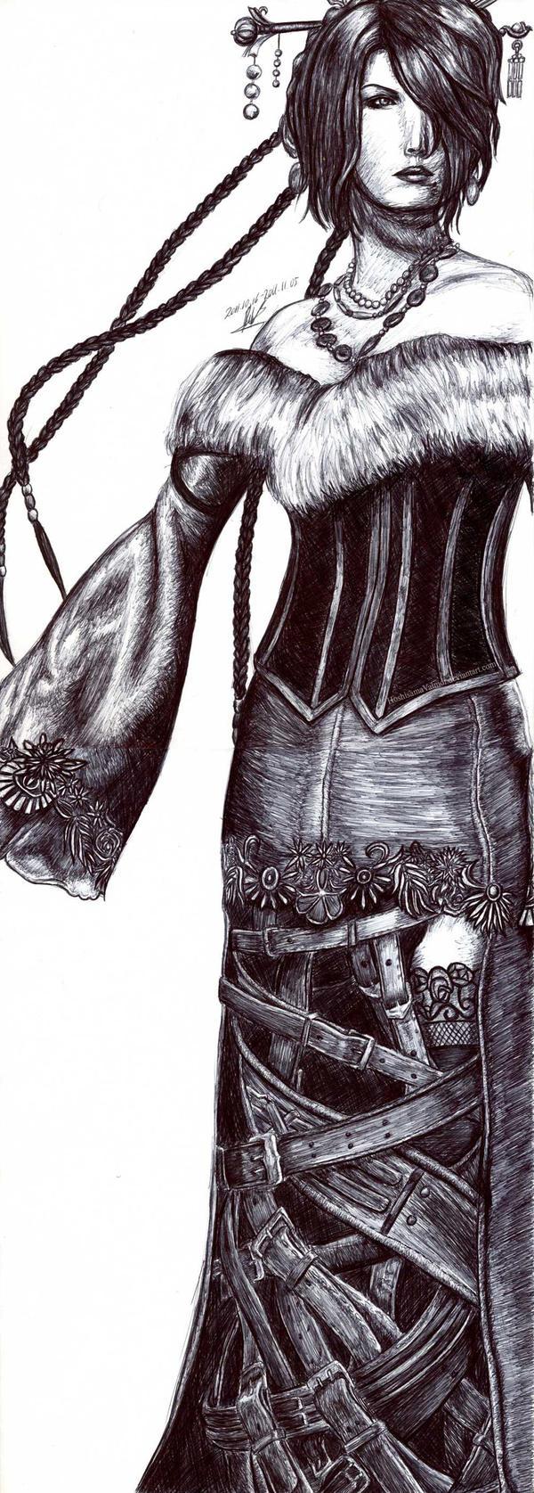 Lulu Final Fantasy X pen drawing by HoshisamaValmor