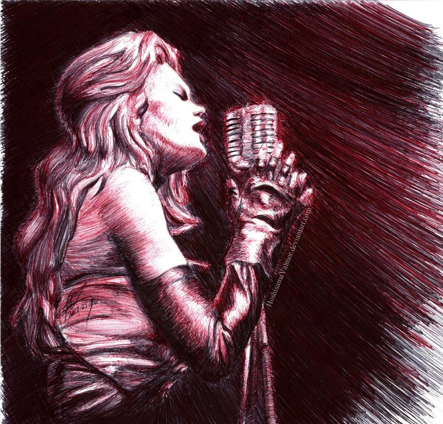 Ellen Aim - Streets of Fire pen drawing by HoshisamaValmor