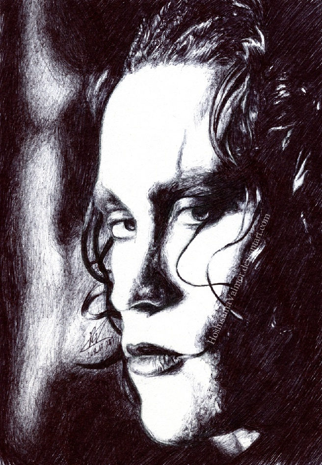 The Crow - Brandon Lee pen drawing by HoshisamaValmor