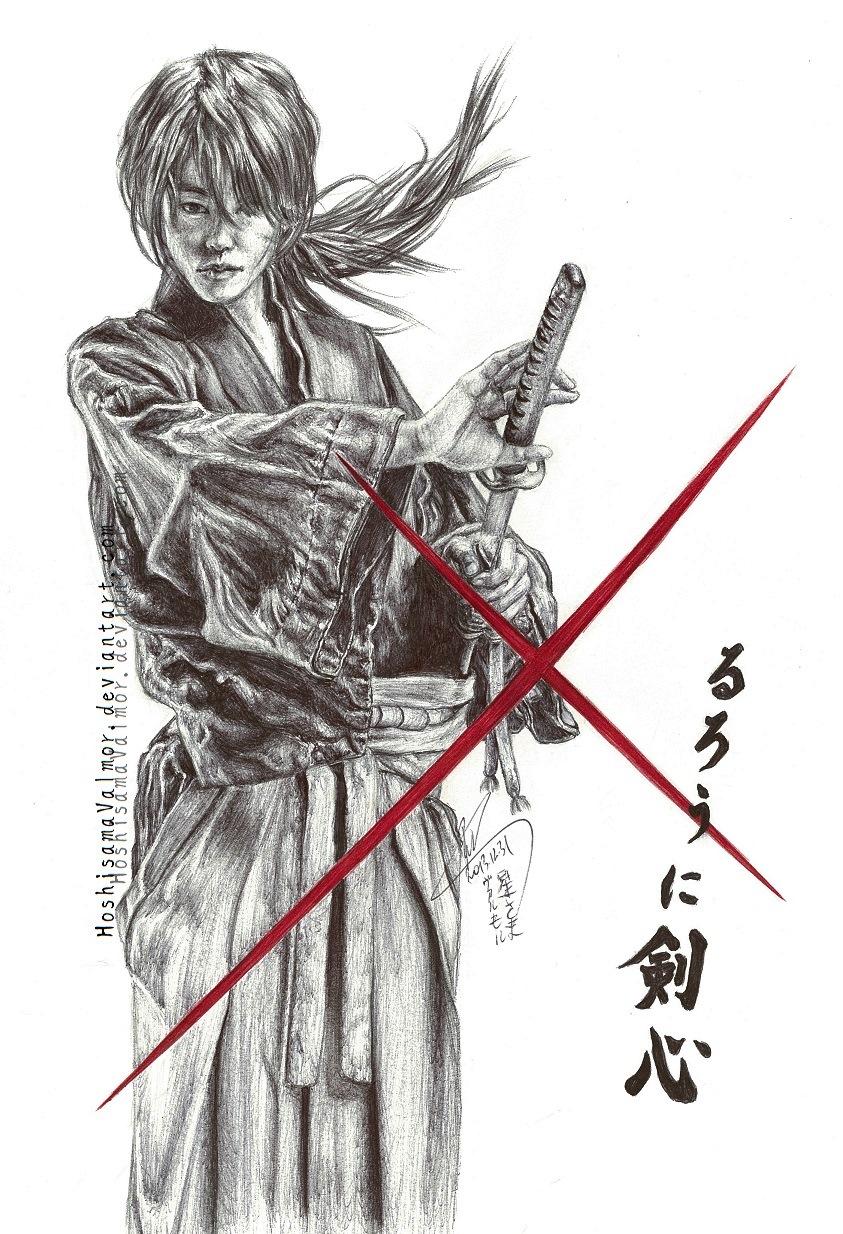 Himura Kenshin - Takeru Sato pen drawing by HoshisamaValmor