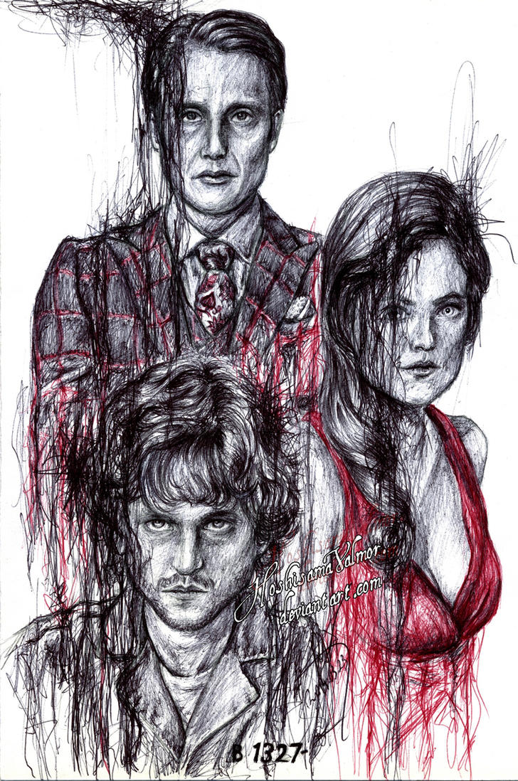 Folie - Hannibal pen drawing by HoshisamaValmor