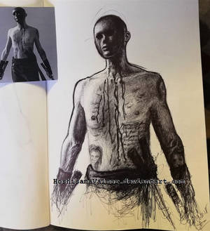 of swords and scars pen drawing