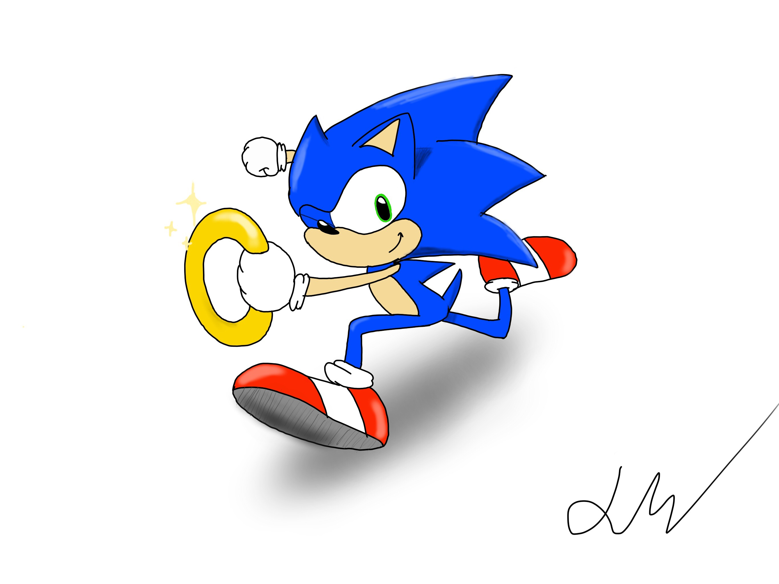 Sonic The Hedgehog Running W Ring By Jadenstation On Deviantart