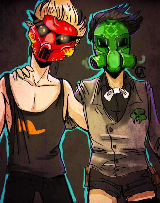 bros in masks by miraliese