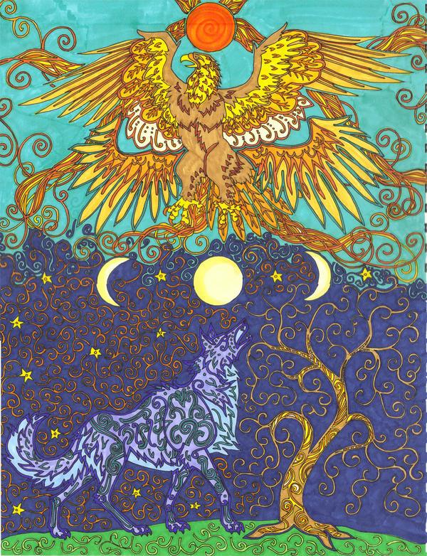 Solar Eagle, Lunar Wolf by FireKat