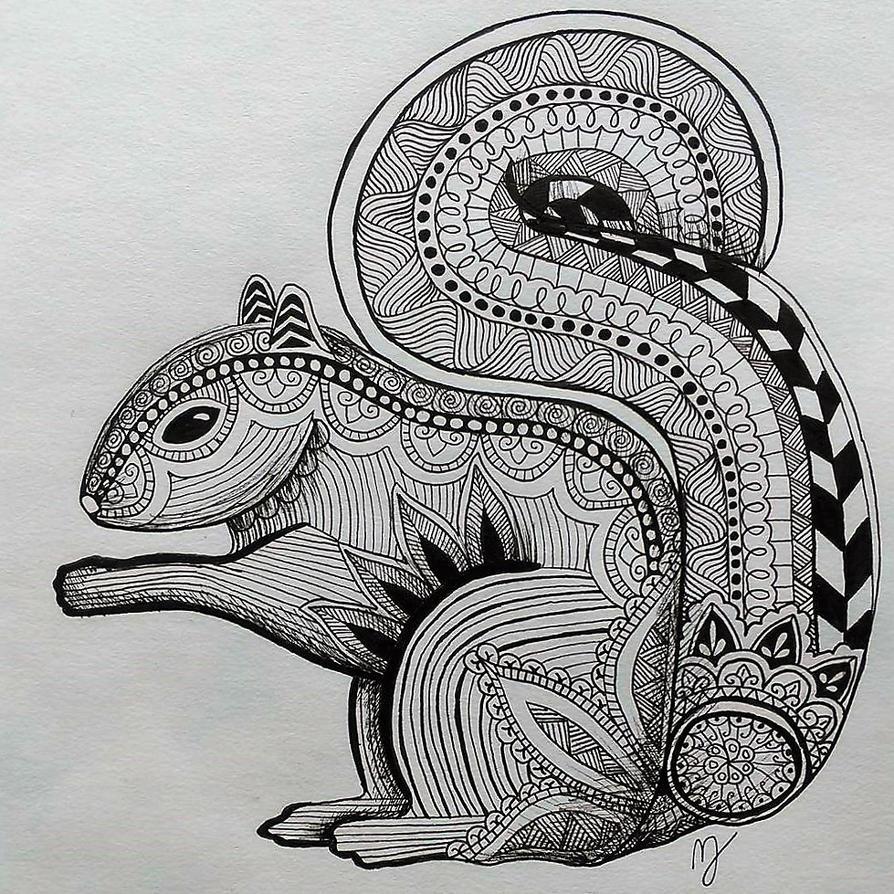 Zentangle Squirrel By Mallexo