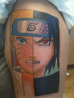 Naurto and Sasuke Tattoo by tombkeepers-angel