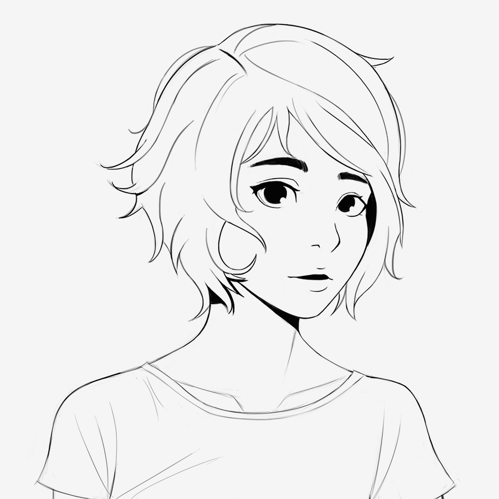 Line Art Hair : Line art anime girl with short hair sketch by