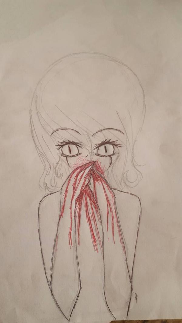 girl throwing up blood by xojadlx on deviantart, Skeleton