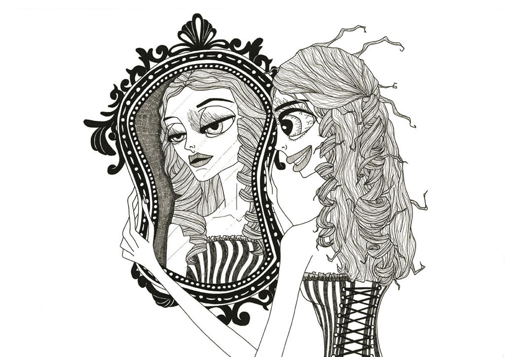 Le miroir deformant by aliciainsanit on deviantart for Dessin miroir bris
