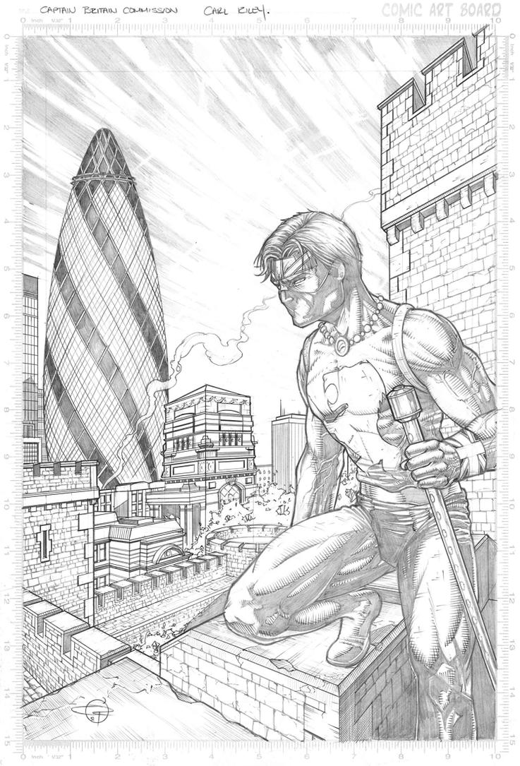 Captain Britain Commish by Carl-Riley-Art