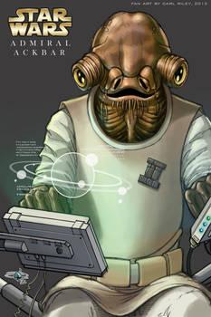 Star Wars, Admiral Ackbar - A4 Coloured Sketch