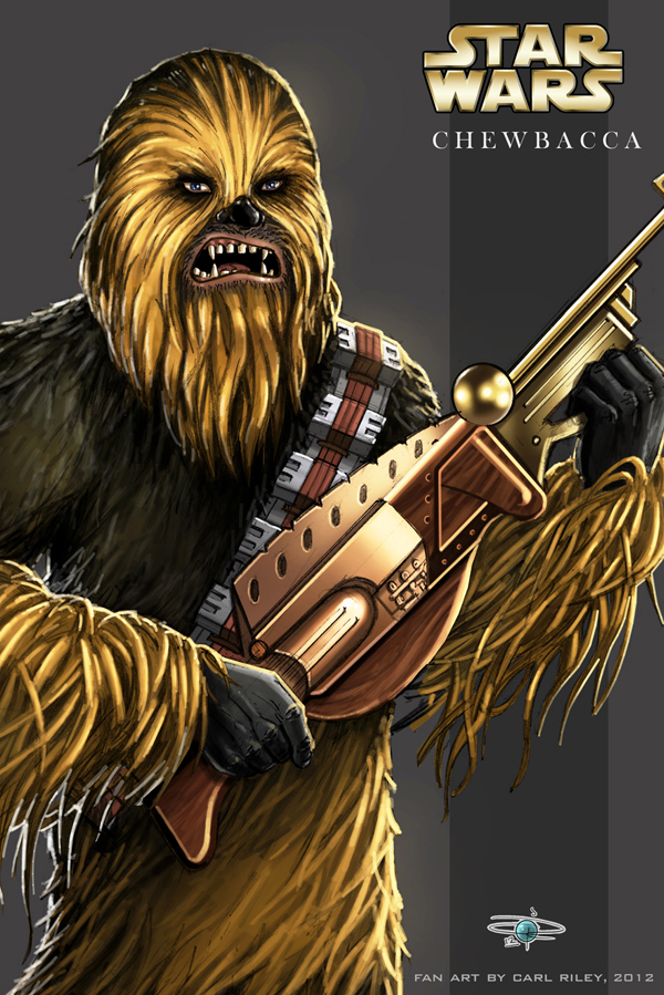 Star Wars, Chewbacca - A4 coloured sketch by Carl-Riley-Art