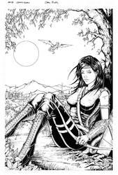 Arya Shadeslayer Commission Inks by Carl-Riley-Art