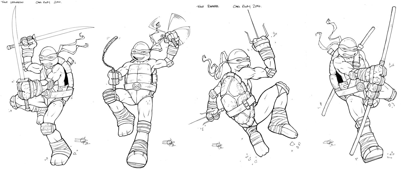 TMNT hi-res lines for colouring comp! by Carl-Riley-Art