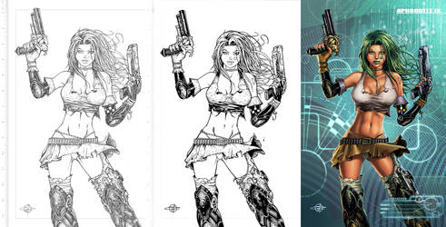 Aphrodite ix process - pencils, ink and colours