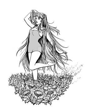 Persephone runs through dandelions